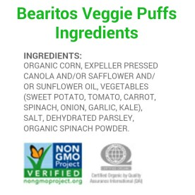 Bearitos Veggie Puffs Ingredients