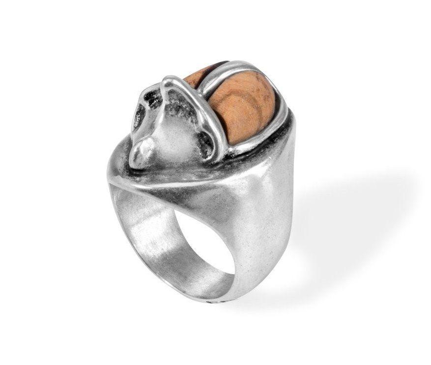 Versilberter kaeferfrmiger Ring
