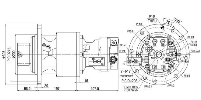 Motor hidráulico SM60-10 de la matanza de la maquinaria