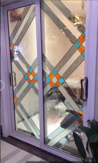 decorative glass panels in French door/wooden door