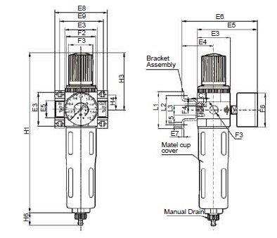 Regulador de filtro del aire preparación unidades FESTO