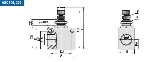 AIRTAC fluyen serie del ASC de la válvula de control la