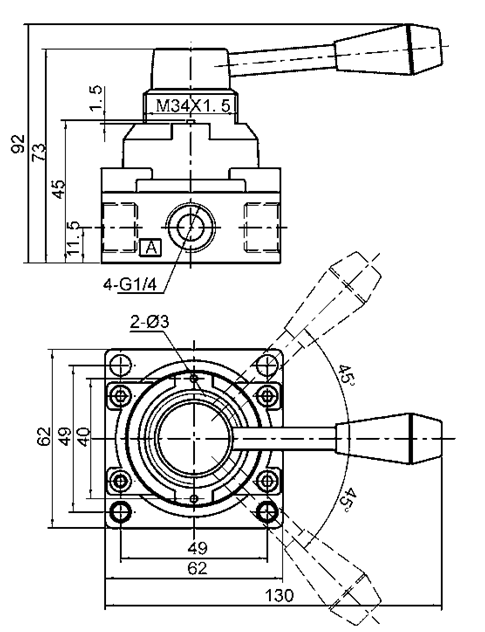 Válvula de control direccional manual G3/8, válvula de