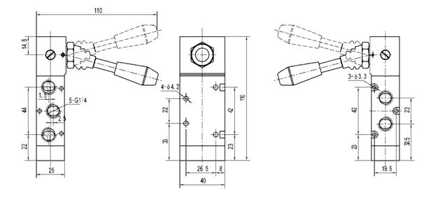 Válvula de control direccional manual G1/8, válvula de la