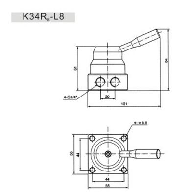 4/2 válvula de control direccional actuada manual de