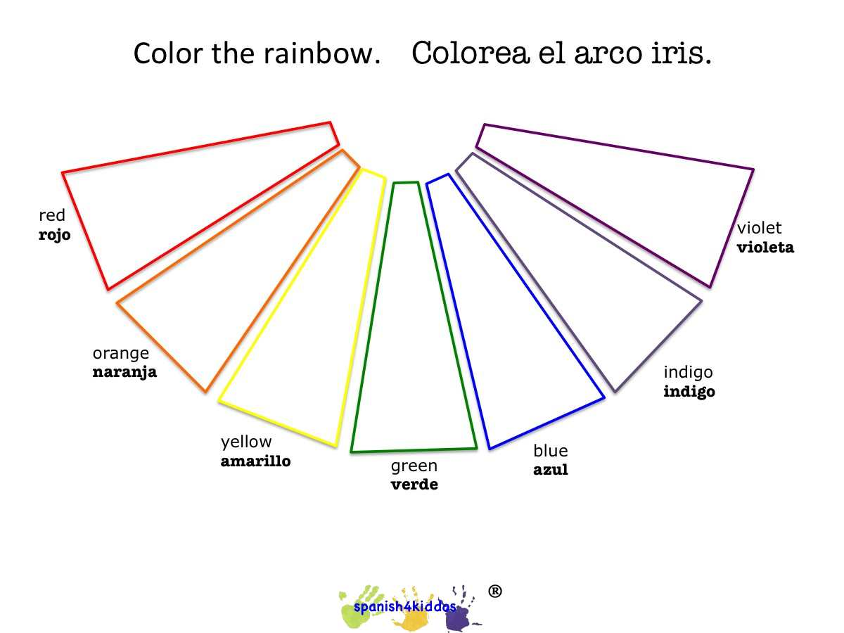 Rainbow Coloring Blank With Bilingual Terms