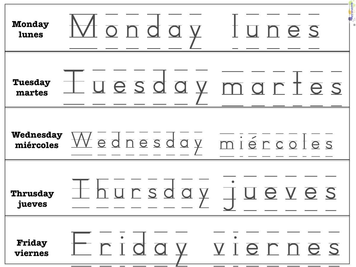 Weekdays Spanish4kiddos Educational Resources