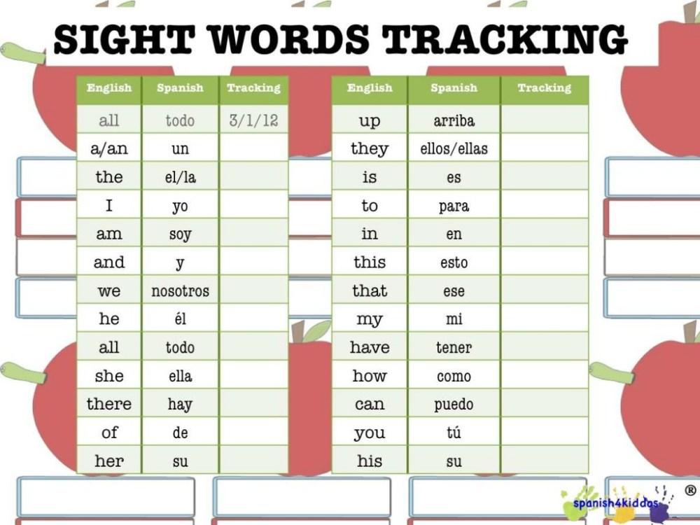 medium resolution of Spanish Sight Words - Spanish4Kiddos Educational Services