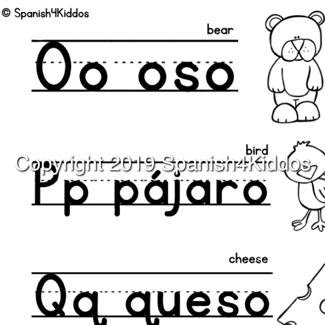 Spanish Alphabet Printable Workbook Spanish4kiddos