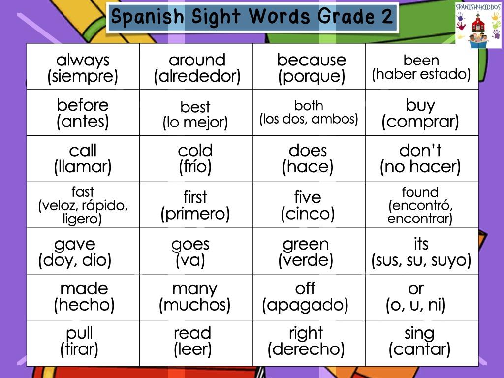 Spanish sight words list G2