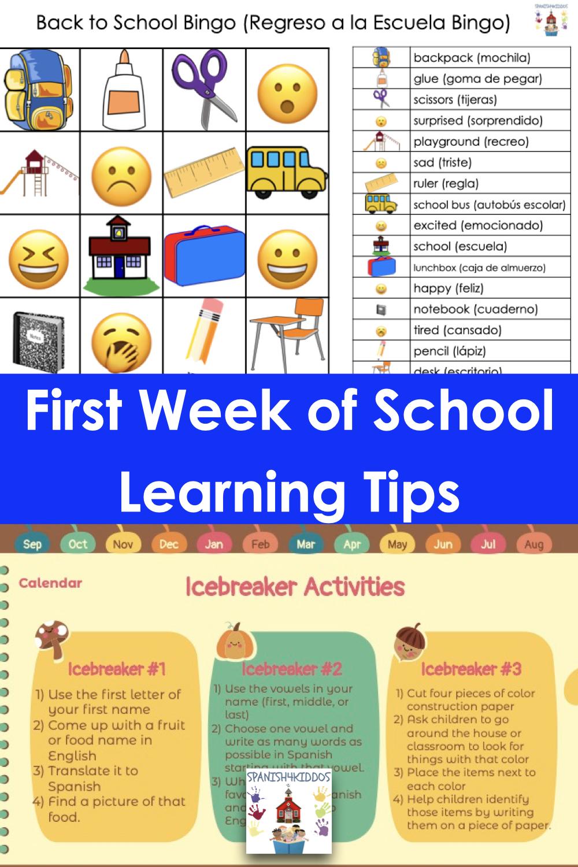 first week of school bilingual activities
