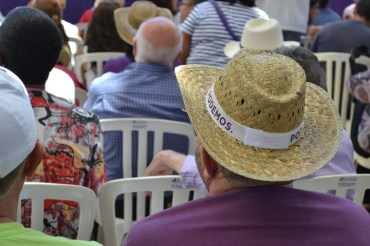 The hats were distributed for free and helped keep the hot Seville sun at bay.