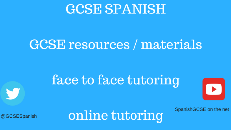 This image contains information about the content on the GCSE Spanish website - GCSE Spanish materials, details about face to face tutoring and online tutoring