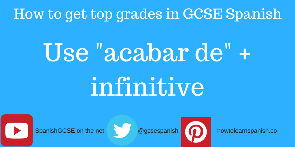 "Information about how to get the top grades in GCSE Spanish by using the Information about how to get the top grades in GCSE Spanish by using the construction ""acabar de"" + the infinitive"