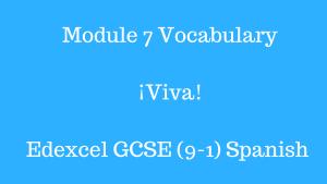 Module 7 Vocabulary ¡Viva! Edexecel GCSE (9-1) Spanish