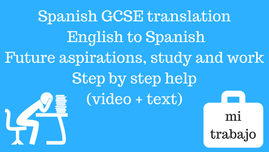 Spanish GCSE Translation English to Spanish Topic - future aspirations, study and work