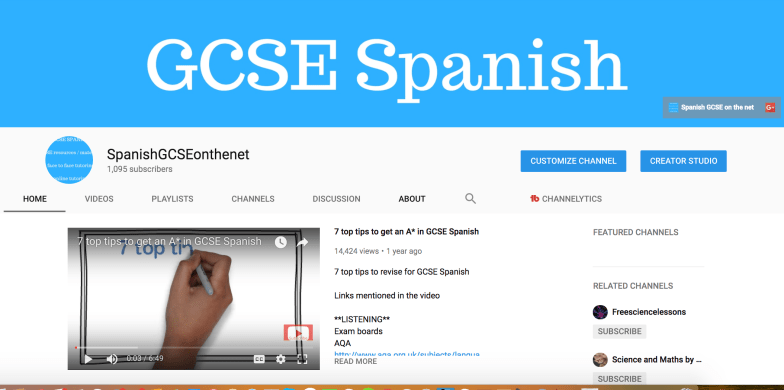 Spanish GCSE Youtube channel