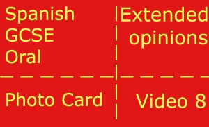 GCSE Spanish oral - photocard - giving extended opinions
