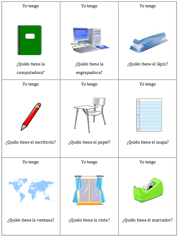¿Yo Tengo.. Quién Tiene? for Classroom Objects