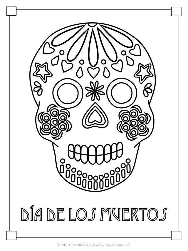 Sugar Skull Coloring Pages and Masks for Día de Muertos