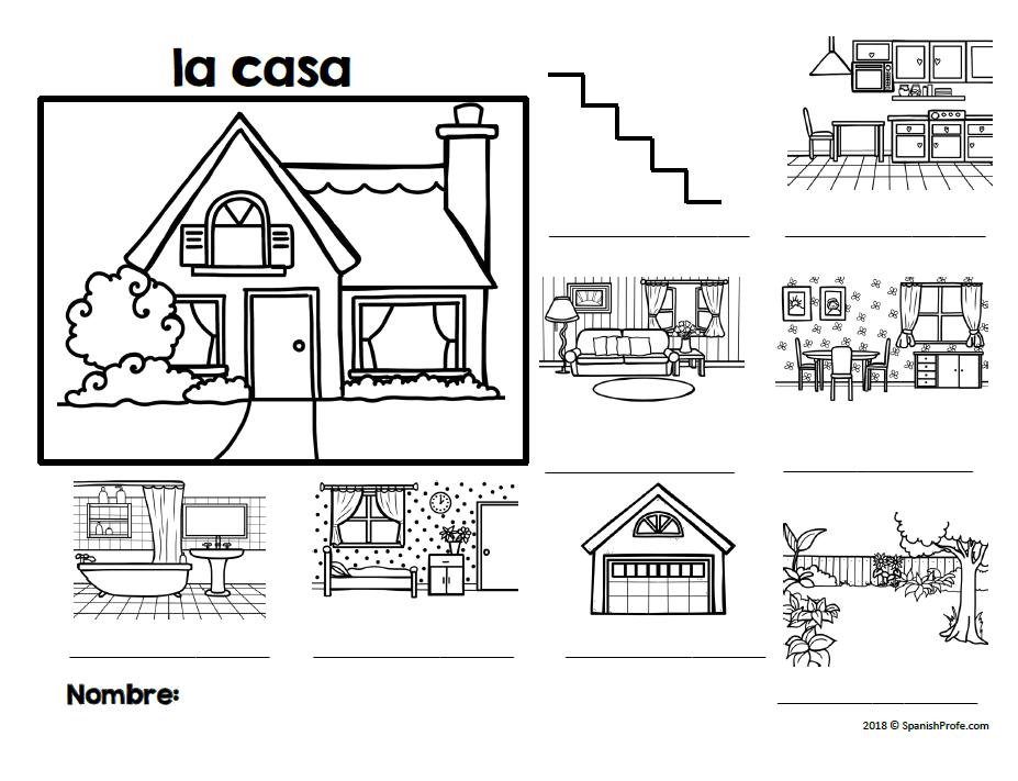 La casa (Spanish House Diagram, Vocabulary and labeling