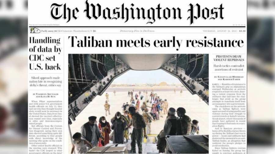 La evacuación de España, portada en The Washington Post, mientras Suecia abandona a los afganos que han trabajado para ellos