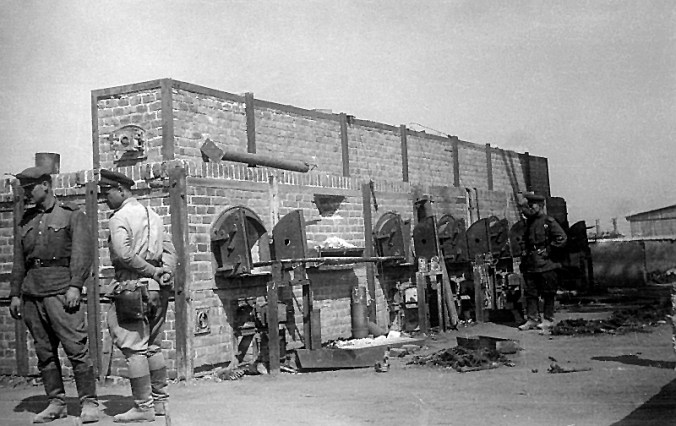Red Army soldiers examining the ovens at Majdanek, following the camp's liberation, summer 1944