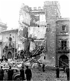 Bombning, murbrokker, levende begravede