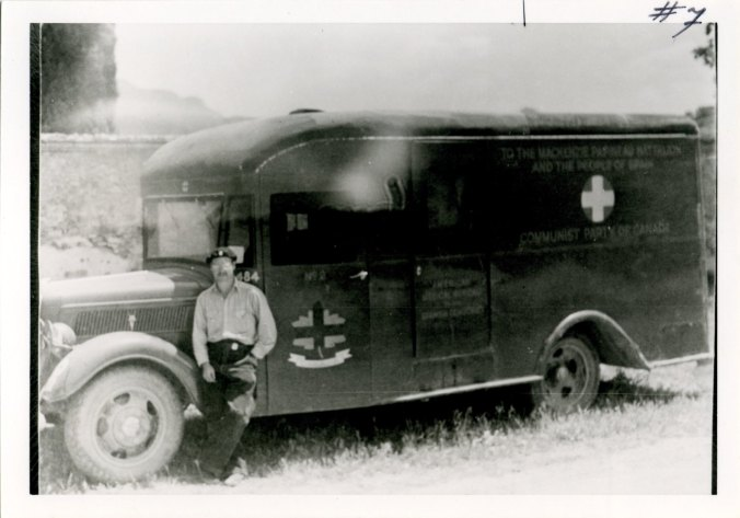 Walter Schuetrum with Mac Pap Ambulance, 1938. Photo: no known copyright. From (with permission): https://spanishcivilwar.ca/islandora/object/islandora:e479d7de-c52e-4579-9189-792b19a65013#page/1/mode/1up