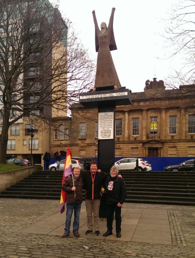 Iain, Allan and Stuart at the monument 'La Pasionaria' by the river Clyde – part of a photo reportage of the unveiling of the monument 'Blockade-Runners to Spain' in Glasgow, 2. March 2019