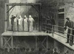 De fire mænd, der blev hængt den 11. november 1887: George Engel, Adolph Fisher, Albert Parson og August Spies. Historien om 1. maj