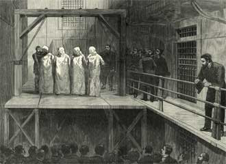 The execution of George Engel, Adolph Fisher, Albert Parson og August Spies on 11 November 1887