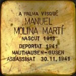 Manuel Molina Martí. One of the brass memorial 'stones' dedicated to the residents of Palma who were victims of fascism. Stumbling stones. Photo: Folke Olsson