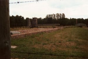 Stutthof concentration camp; watchtower and crematorium