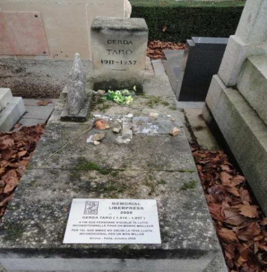 Gerda Taros gravsted på kirkegården Peré Lachaise