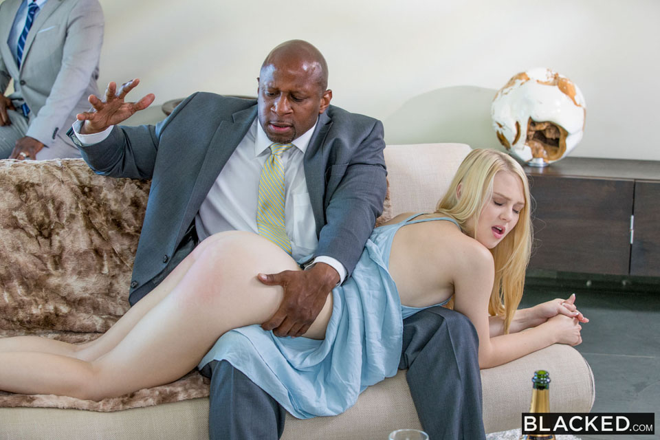 Lily Rader getting spanked OTK at Blacked