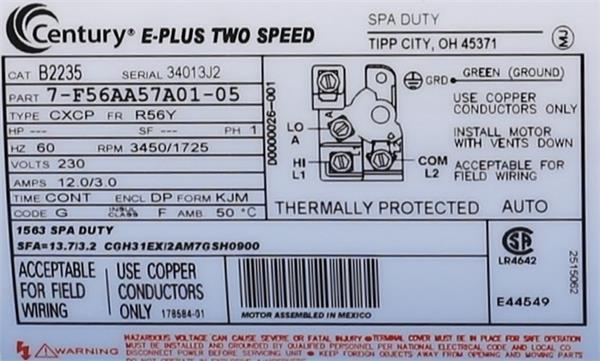 ao smith spa pump motors  hot tub motors  b235  century