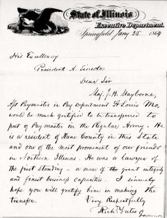 Gov. Richard Yates' Letter to Pres. A. Lincoln