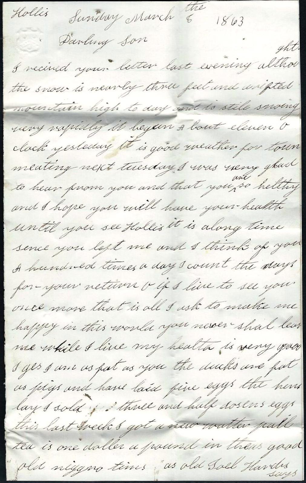 1863: Sarah Ann Adams to Charles H. Adams