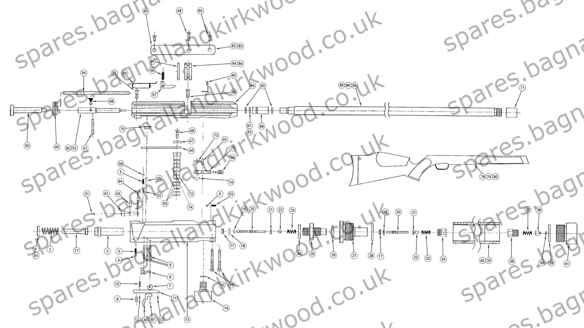 hight resolution of fx ranchero air rifle pistol exploded parts list diagram b