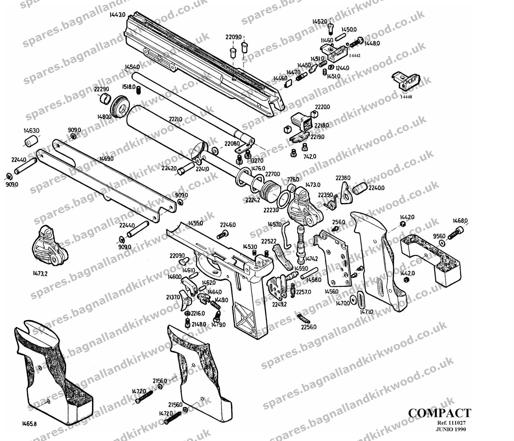 Gamo compact bagnall and kirkwood airgun spares gamo compact air pistol exploded diagram parts list pooptronica