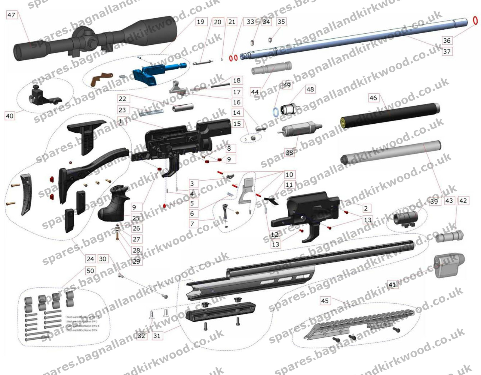 hight resolution of exploded parts diagram