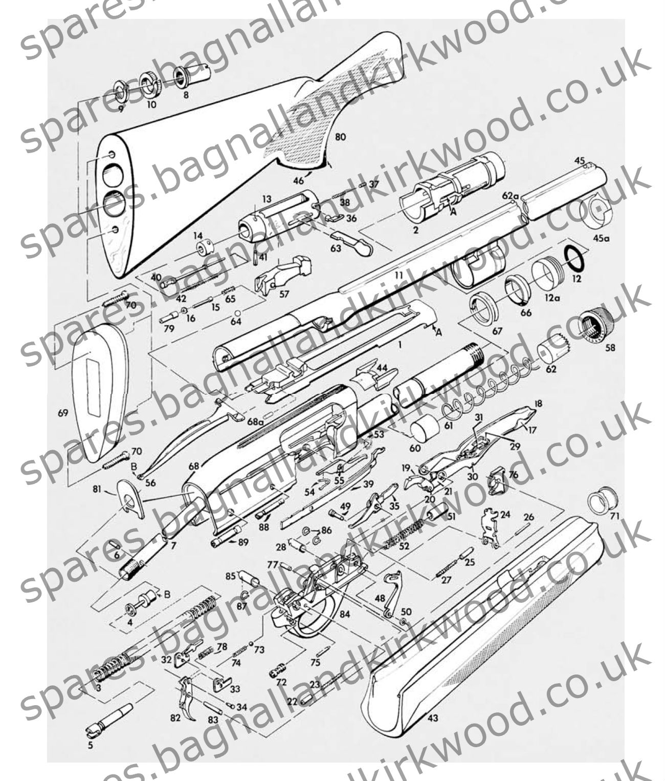 remington 1187 spare parts bagnall and kirkwood airgun spares rh spares bagnallandkirkwood co uk Remington 11-87 Disassembly Diagram Remington 11-87 Disassembly Diagram