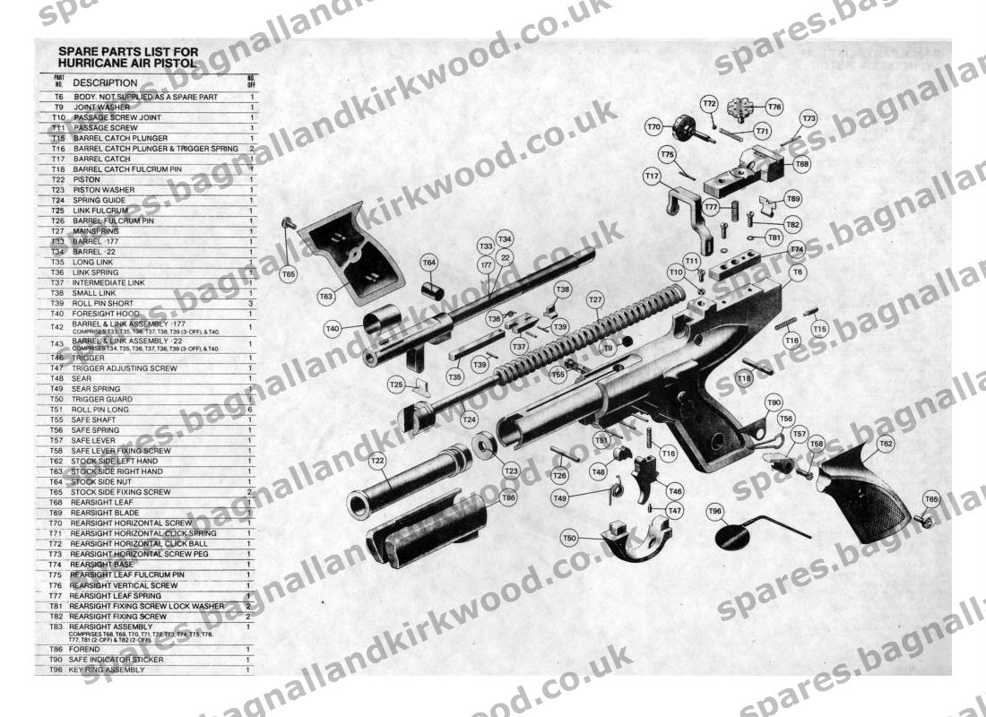 Webley hurricane spare parts bagnall and kirkwood airgun spares webley hurricane air pistol exploded parts diagram pooptronica