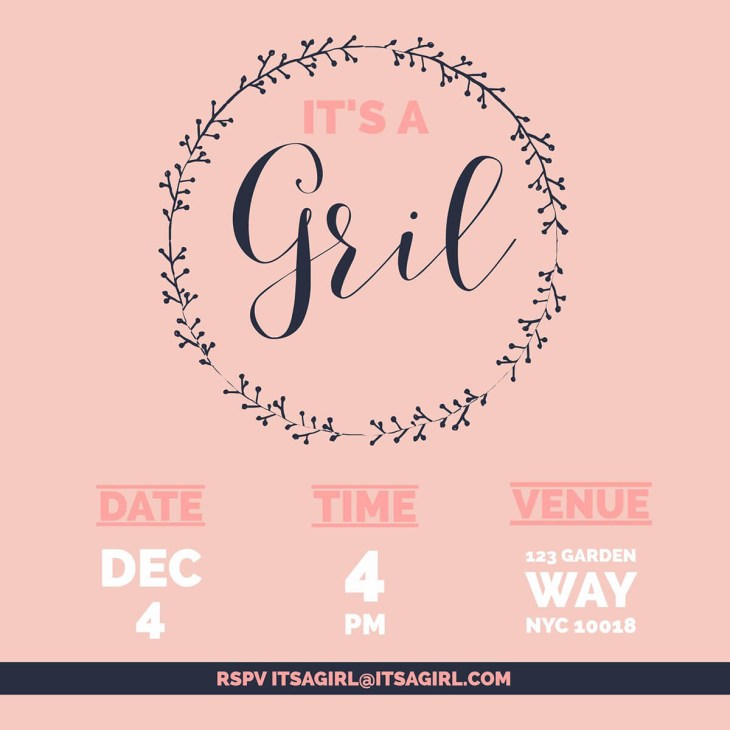 Baby girl shower invite ...