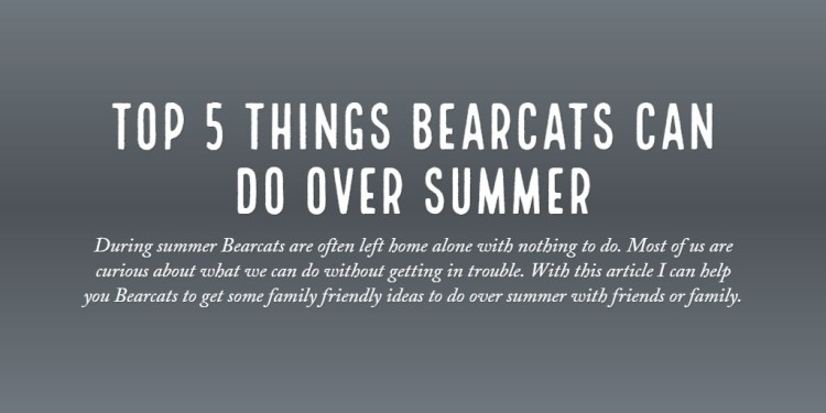 Top 5 Things Bearcats Can do Over Summer