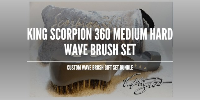 King Scorpion 360 Platinum Grey Medium Hard Wave Brush Set