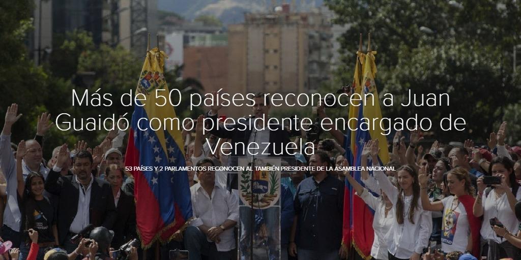 Más de 50 países reconocen a Juan Guaidó como presidente encargado de Venezuela