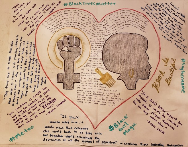 Angel's One Pager displays handwritten text surrounding a red heart filled with additional text and the image of a Black woman with an afro, a pick, and a raised fist symbol.