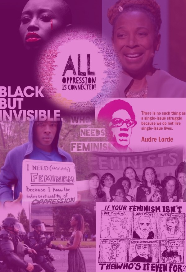 "Kynard's digital design-Image shows a collage with pictures of Black leaders and activists; text reads, ""Black but invisible,"" and ""who needs feminism."""